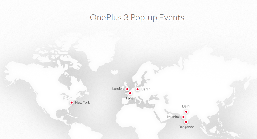 OnePlus 3 pop up events