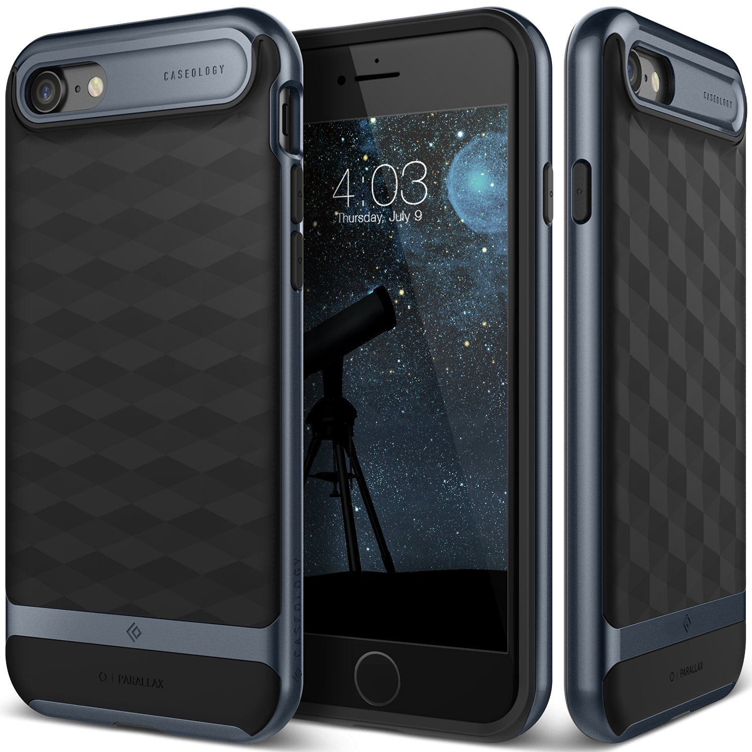 Caseology Parallax Series Modern Slim Black Deep Blue Textured Grip Case,jpg