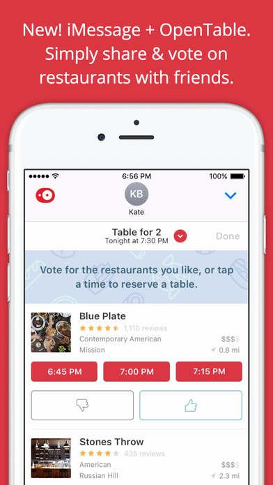 OpenTable for iMessage