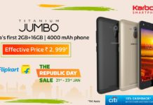 Karbonn, Flipkart, Android, Budget 4G phones, cashback on Karbonn Titanium Jumbo,4g phone with 2gb ram, budget 4g phone
